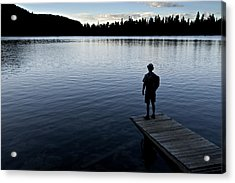 A Man Looking Across A Lake. Into Acrylic Print by Dawn Kish