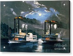 A Midnight Race On The Mississippi Acrylic Print by Currier and Ives