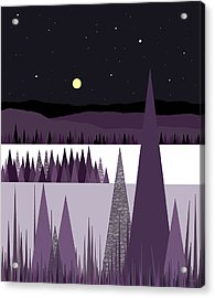 A Moonlit Winter Night Acrylic Print by Val Arie
