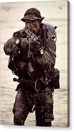 A Navy Seal Exits The Water Armed Acrylic Print by Michael Wood