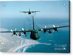A Pair Of C-130 Hercules In Flight Acrylic Print by Stocktrek Images