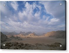 A Panoramic View Of The Wadi Rum Region Acrylic Print by Gordon Wiltsie