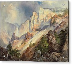 A Passing Shower In The Yellowstone Canyon Acrylic Print by Thomas Moran