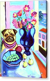 A Pug's Dinner At Henri's - Pug Acrylic Print by Lyn Cook
