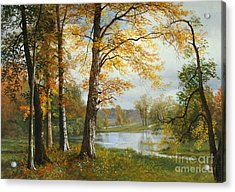 A Quiet Lake Acrylic Print by Albert Bierstadt
