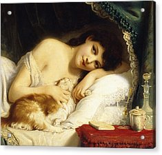 A Reclining Beauty With Her Cat Acrylic Print by Fritz Zuber-Buhler