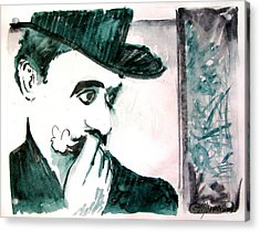 A Sad Portrait Of Chaplin Acrylic Print by Seth Weaver