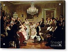 A Schubert Evening In A Vienna Salon Acrylic Print by Julius Schmid