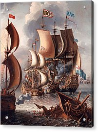 A Sea Fight With Barbary Corsairs Acrylic Print by Mountain Dreams