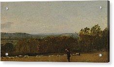 A Shepherd In A Landscape Looking Across Dedham Acrylic Print by John Constable