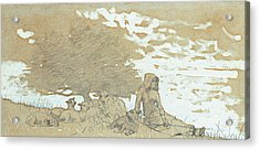 A Shepherdess Acrylic Print by Winslow Homer
