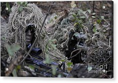 A Sniper Team Spotter And Shooter Acrylic Print by Stocktrek Images