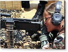 A Soldier Fires An M240b Medium Machine Acrylic Print by Stocktrek Images