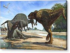 A Spinosaurus Blocks The Path Acrylic Print by Sergey Krasovskiy