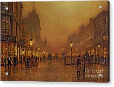 A Street At Night Acrylic Print by John Atkinson Grimshaw