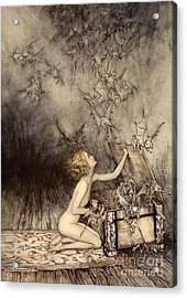 A Sudden Swarm Of Winged Creatures Brushed Past Her Acrylic Print by Arthur Rackham