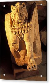 A Temple Winged Lion In The Petra Acrylic Print by Richard Nowitz