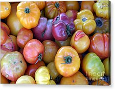 A Trip Through The Farmers Market Featuring Heirloom Tomatoes. Acrylic Print by Michael Ledray
