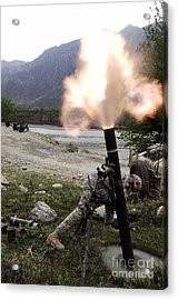 A U.s. Army Soldier Ducking Away Acrylic Print by Stocktrek Images