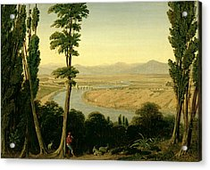 A View Of The Tiber And The Roman Campagna From Monte Mario Acrylic Print by William Linton