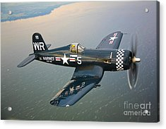 A Vought F4u-5 Corsair In Flight Acrylic Print by Scott Germain