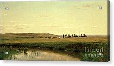 A Wagon Train On The Plains Acrylic Print by Thomas Worthington Whittredge