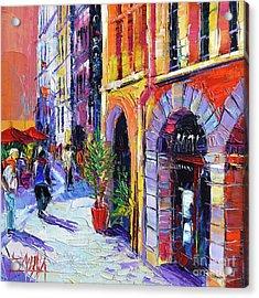 A Walk In The Lyon Old Town Acrylic Print by Mona Edulesco