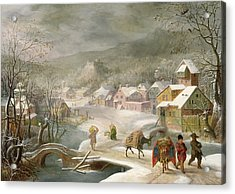 A Winter Landscape With Travellers On A Path Acrylic Print by Denys van Alsloot
