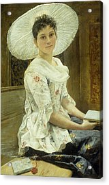 A Young Beauty In A White Hat  Acrylic Print by Franz Xaver Simm