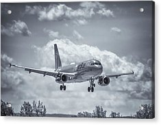 A320 On Approach Acrylic Print by Guy Whiteley