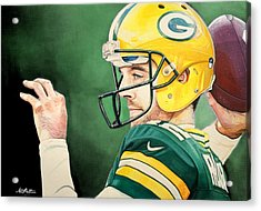 Aaron Rodgers - Green Bay Packers Acrylic Print by Michael  Pattison