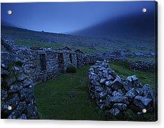 Abandoned Stone-walled Homes At Village Acrylic Print by Jim Richardson