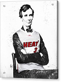 Abe Lincoln In A Dwyane Wade Jersey Acrylic Print by Roly Orihuela