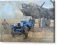 Able Mable And The Blue Lagonda  Acrylic Print by Peter Miller