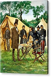 Abraham Lincoln Plans His Campaign During The American Civil War  Acrylic Print by Peter Jackson