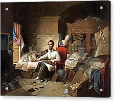 Abraham Lincoln, Proclamation Of Freedom, 1863 Acrylic Print by American School