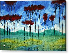 Abstract Art Original Landscape Painting Reflective Beauty By Madart Acrylic Print by Megan Duncanson