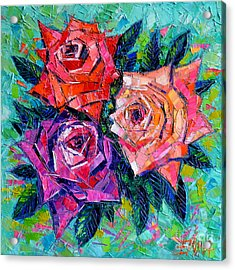 Abstract Bouquet Of Roses Acrylic Print by Mona Edulesco