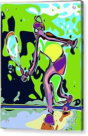 Abstract Female Tennis Player 2 Acrylic Print by Chris Butler