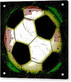 Abstract Grunge Soccer Ball Acrylic Print by David G Paul