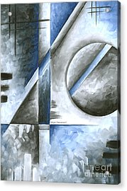 Abstract Original Art Contemporary Blue And Gray Painting By Megan Duncanson Blue Destiny I Madart Acrylic Print by Megan Duncanson