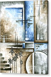 Abstract Original Art Contemporary Blue And Gray Painting By Megan Duncanson Blue Destiny II Madart Acrylic Print by Megan Duncanson