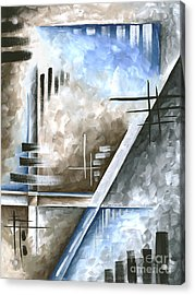 Abstract Original Art Contemporary Blue And Gray Painting By Megan Duncanson Blue Destiny IIi Madart Acrylic Print by Megan Duncanson