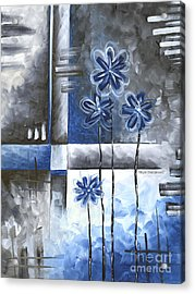 Abstract Original Art Contemporary Blue And Gray Painting By Megan Duncanson Blue Destiny Iv Madart Acrylic Print by Megan Duncanson