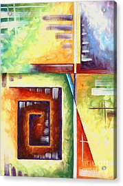 Abstract Original Art Contemporary Colorful Painting By Megan Duncanson Color Explosion II Madart Acrylic Print by Megan Duncanson