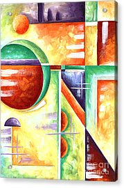 Abstract Original Art Contemporary Colorful Painting By Megan Duncanson Color Explosion Iv Madart Acrylic Print by Megan Duncanson