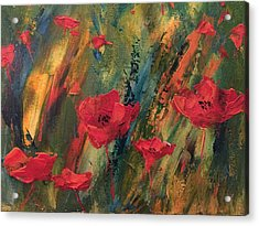Abstract Poppies Acrylic Print by Kristine Bogdanovich