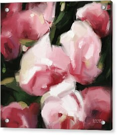 Abstract Roses Dark And Light Pink Acrylic Print by Beverly Brown Prints