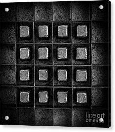 Abstract Squares Black And White Acrylic Print by Edward Fielding