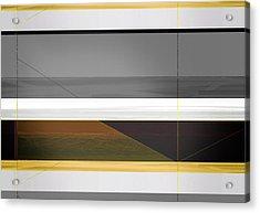 Abstract Yellow And Grey  Acrylic Print by Naxart Studio